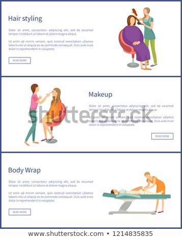 Hair Styling and Body Wrap Posters Set Vector Stock photo © robuart