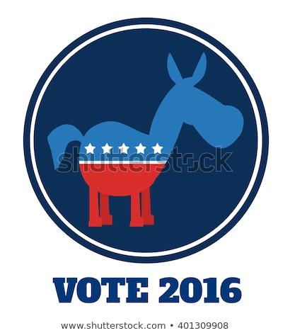 Demokrata osioł cartoon niebieski kółko etykiety Zdjęcia stock © hittoon