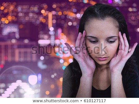 молодые · черный · печально · женщину · Постоянный · здании - Сток-фото © Stasia04