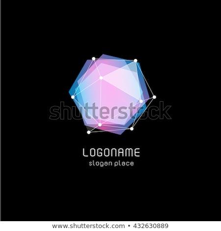 геометрический Diamond шестиугольник синий икона звездой Сток-фото © blaskorizov