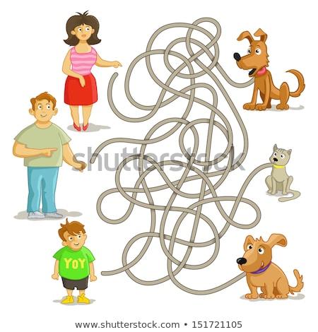 Cartoon labirinto gioco ragazzo cane illustrazione Foto d'archivio © izakowski