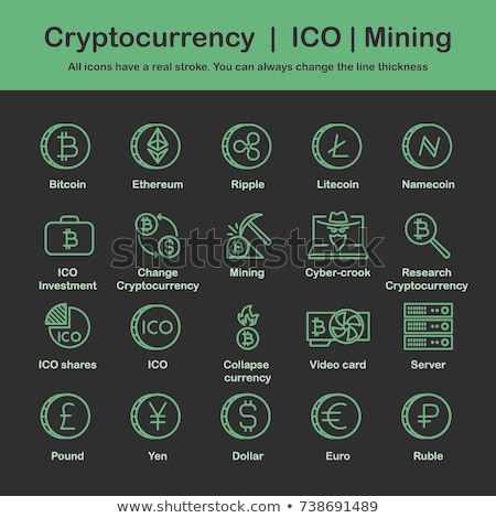 Bitcoin Cryptocurrency and Yen Icons Set Vector Stock photo © robuart