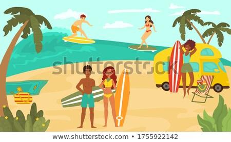 surfista · playa · verano · naranja · océano · silueta - foto stock © robuart