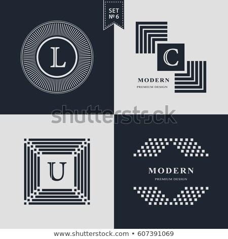 Stockfoto: Brief · ingesteld · logo · vector · iconen