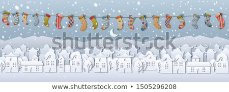 fairy tale paper cut city of snow vector postcard stock photo © robuart