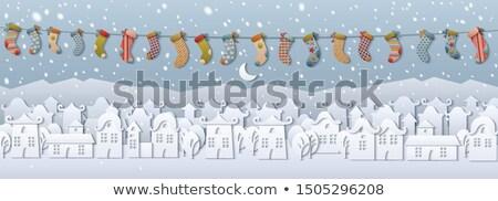 Bajki papieru cięcia miasta śniegu wektora Zdjęcia stock © robuart