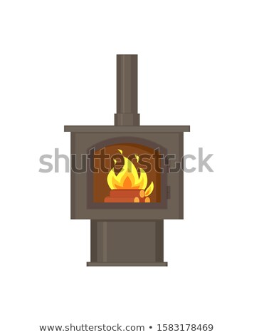 Kamin Feuer Brennen innerhalb Rohr Rohr Stock foto © robuart