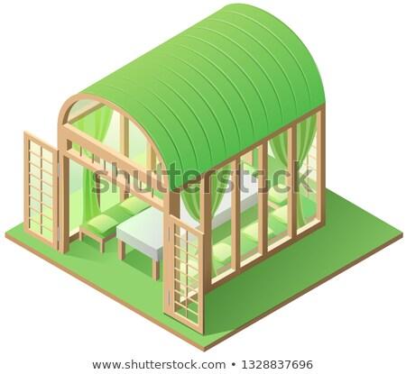 зеленый саду дома изометрический икона Сток-фото © orensila