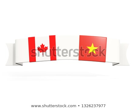 Banner with two square flags of canada and vietnam Stock photo © MikhailMishchenko