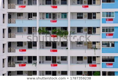 Ház zászló Szingapúr csetepaté fehér házak Stock fotó © MikhailMishchenko