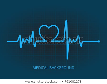 flat design icon of heart with cardio diagram stock photo © angelp