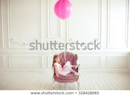 Kicsi gyönyörű lány ül öreg szék aranyos Stock fotó © Lopolo