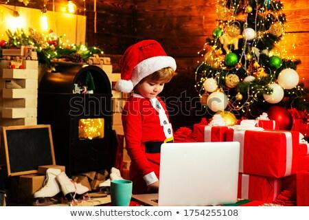 Neşeli Noel cin yardımcı noel baba liste Stok fotoğraf © robuart