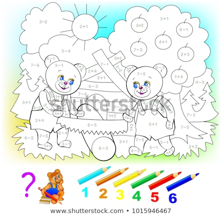 Addition worksheet template for young children Stock photo © colematt
