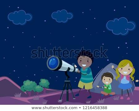 Сток-фото: дети · ночь · звездой · иллюстрация · за · пределами · кемпинга