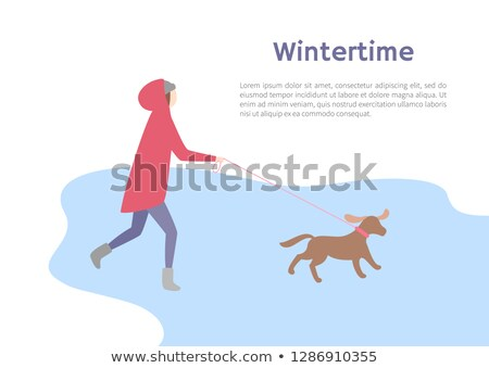 running girl with small dog in wintertime vector stock photo © robuart