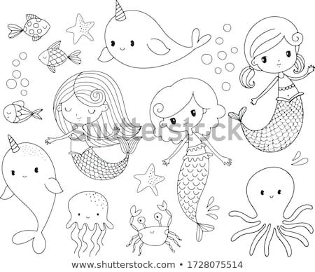 vector black, white outline cartoon cute mermaid Stock photo © VetraKori