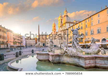 ochtend · fontein · Italië · hemel · water · gebouw - stockfoto © givaga