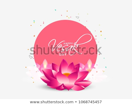 Vesak Day card of pink Buddha with lotus flower Stock photo © cienpies
