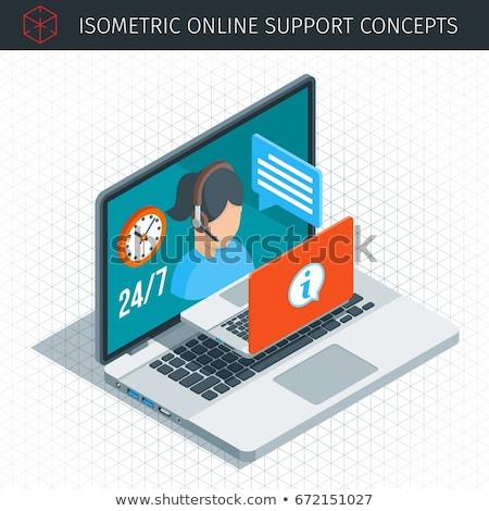 blogging   line design style isometric web banner stock photo © decorwithme