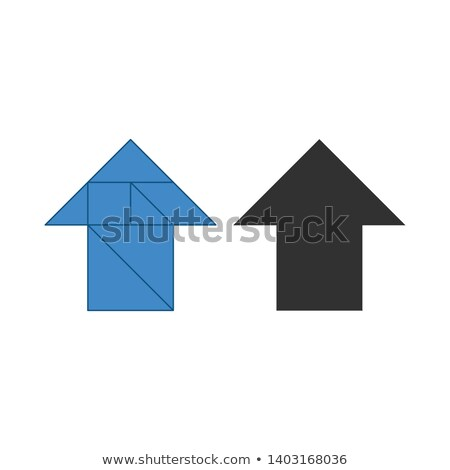 Arrow up Tangram. Traditional Chinese dissection puzzle, seven tiling pieces - geometric shapes: tri stock photo © kyryloff
