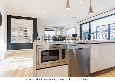 yeni · mikrodalga · fırın · teknoloji · arka · plan · mutfak - stok fotoğraf © andreypopov