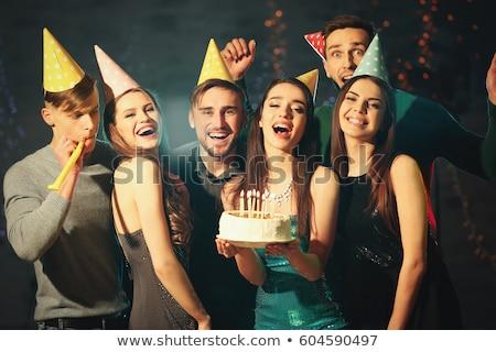 Foto d'archivio: Festa · di · compleanno · celebrazione · uomo · Hat · torta