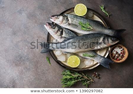 新鮮な 海 低音 魚 ローズマリー 金属 ストックフォト © Alex9500