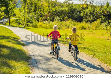 Dois feliz meninos ciclismo parque família Foto stock © galitskaya
