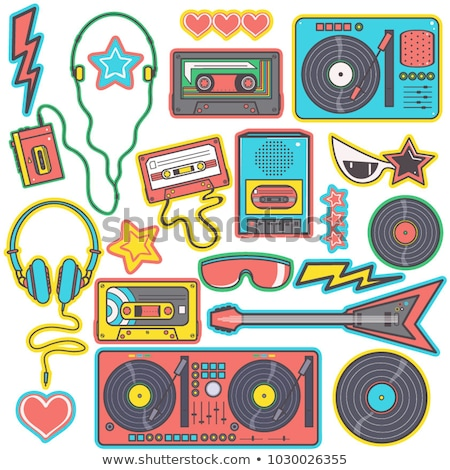 Retro Musical Objects, Rock Sticker, Guitar Vector Stock photo © robuart