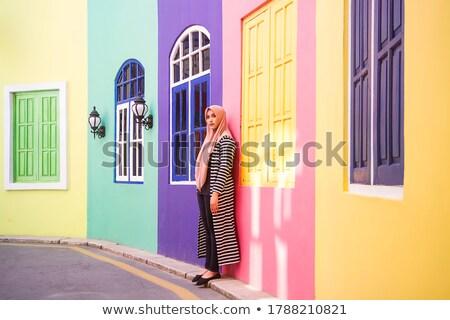 Fiatal muszlim nő kék hidzsáb áll Stock fotó © pressmaster