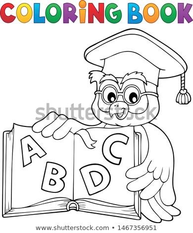 Coloring book owl teacher theme 4 Stock photo © clairev
