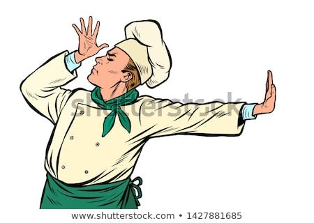 Caucásico cocinar chef gesto vergüenza negación Foto stock © studiostoks