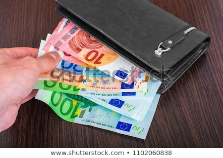 leather wallet and withdrawing European currency Stock photo © bborriss
