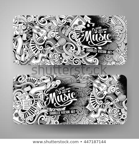 Cartoon hand-drawn doodles Musical illustration. Line art background Stock photo © balabolka