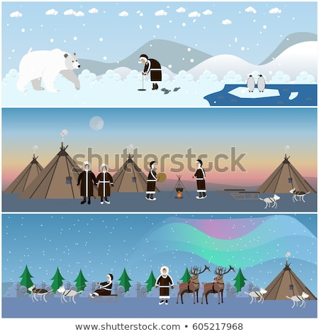 Orso polare pinguino ghiaccio pesca design stile Foto d'archivio © Decorwithme