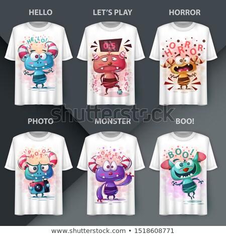 Conjunto louco monstro idéia imprimir tshirt Foto stock © rwgusev