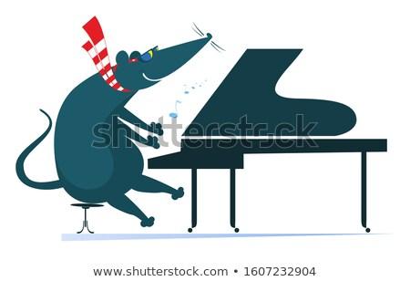 Pianist rat muis piano geïsoleerd illustratie Stockfoto © tiKkraf69