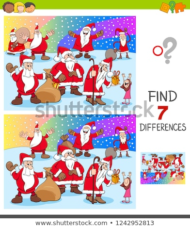 differences game with santa claus characters group stock photo © izakowski