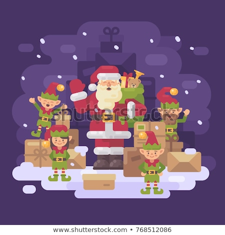 Christmas card with elf and gift box Stock photo © balasoiu