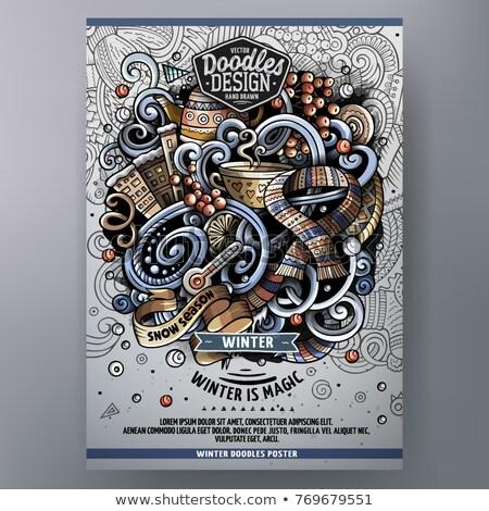 Inverno rabisco cartaz desenho animado detalhado Foto stock © balabolka