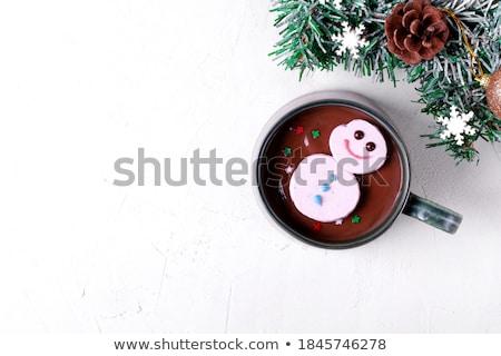 Guimauve bonhomme de neige radeau chocolat chaud Noël délicieux Photo stock © lovleah