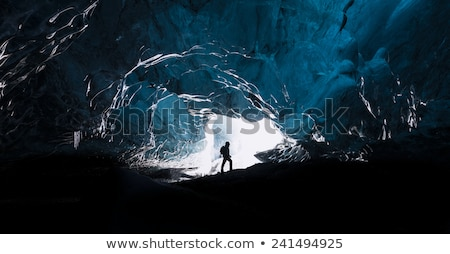 Férfi gleccser barlang Izland extrém utazás Stock fotó © Anna_Om