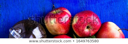 Afiş elma elma şarabı sirke bir cam Stok fotoğraf © Illia