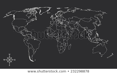 Stock photo: map of the world blueprint