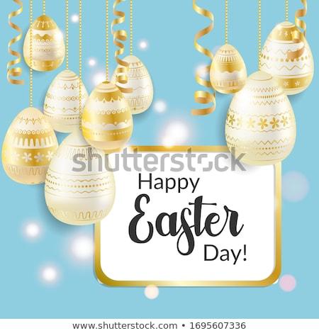 Ovo de páscoa Páscoa cartão dourado ovos Foto stock © LittleCuckoo