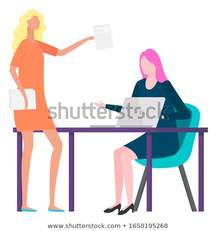 Woman Brokers Buy and Sale Goods and Assets Vector Stock photo © robuart