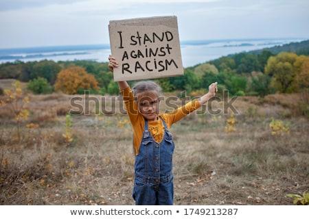 Fekete szöveges üzenet tiltakozás tevékenység igazság erő Stock fotó © FoxysGraphic