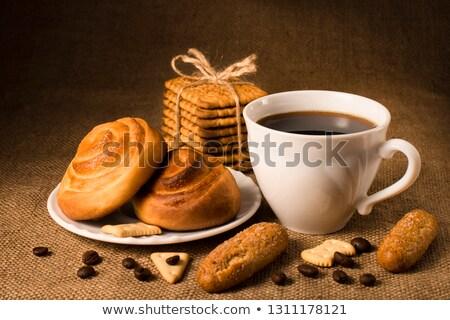 Chignon grains de café tissu alimentaire blanche Photo stock © Evgeniya_Uvarova