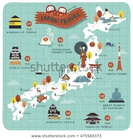 Japonya · harita · yol · işareti · yalıtılmış · beyaz · yol - stok fotoğraf © speedfighter